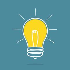 Light bulb idea, success concept.