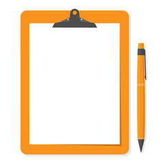 Orange clipboard with white paper and pen put alongside.