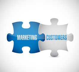 marketing customers puzzle pieces illustration