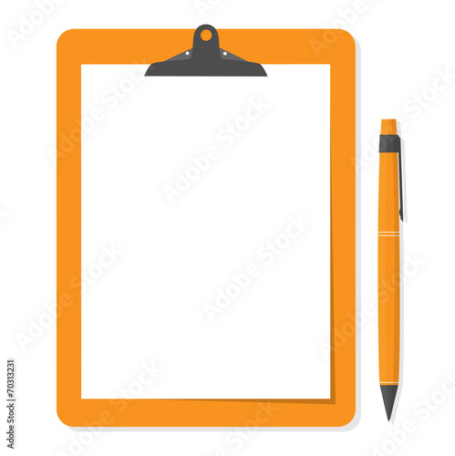Orange clipboard with white paper and pen put alongside. - 70313231