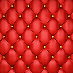Red leather upholstery pattern with golden buttons