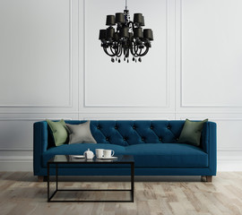 Elegant interior, living room with blue velvet sofa