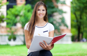 Female student studying outdoor