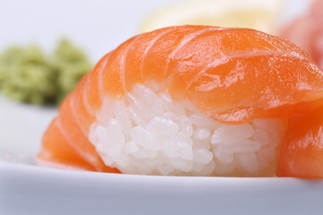 Sushi with salmon and rice