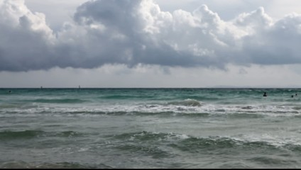 beautiful seascape ocean on windy and cloudy day