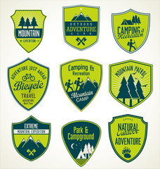 Set of outdoor adventure blue and green retro badges