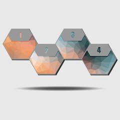 Infographic poligonal elements, 4 hexagons