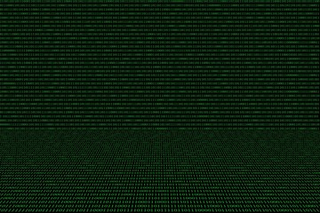 green binary computer code on black background