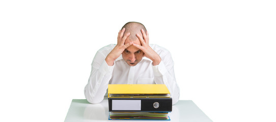 Mann Verzweiflung Steuern Finanzen Ordner