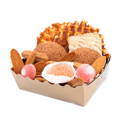Gift box with cookies and fruit candy isolated