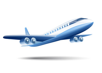 blue airplane on a white background