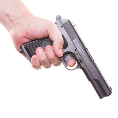 man's hand with a gun isolated killer