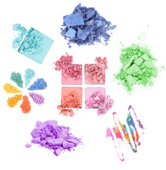 Collage of crushed eyeshadow isolated on white