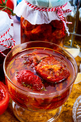 Dried tomatoes in olive oil.