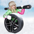 canvas print picture - Woman with skiing gear and winter tyre