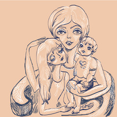 Mother and children.1