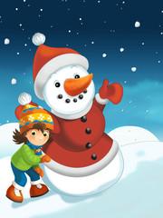 Christmas scene with snowman - illustration for the children