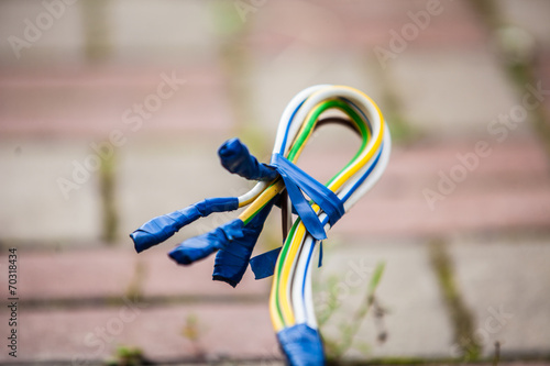Three-phase electrical wires with electrical tape - 70318434