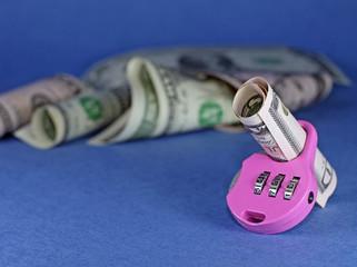 Idea of insurance money - dollars with lock