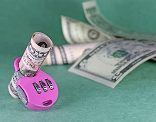 Concept of cash deposit - dollars with lock