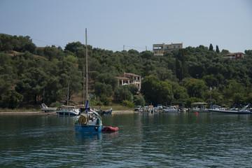Yachts in a bay, Corfu, Greece