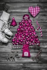 Weihnachtlich Dekorieren in Pink mit Holz und Karomuster