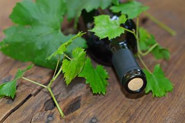 collo bottiglia vino con foglie di vite