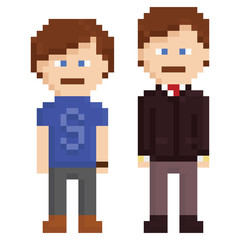 pixel art illustration of two men, young and adult