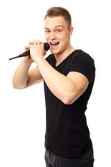 Karaoke with young man in black shirt singing