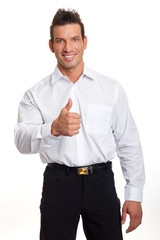 Handsome man in white shirt shows you thumbs up