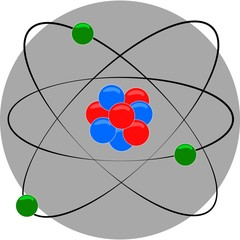 atom structure with nucleus and electron around