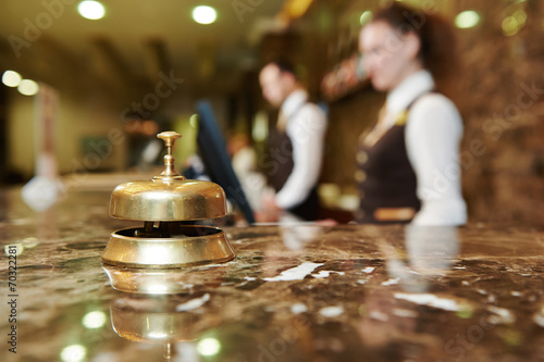 canvas print picture Hotel reception with bell