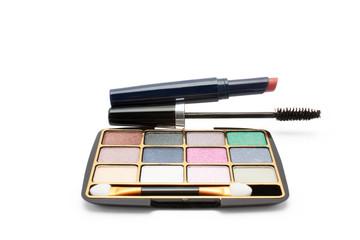 eyeshadow, lipstick and mascara