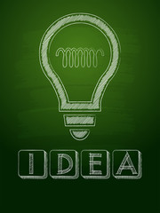 idea and light bulb sign over green blackboard