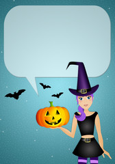 Witch with comic for Halloween