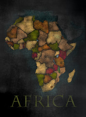 African Continent map in colorful chalkboard style with Counties