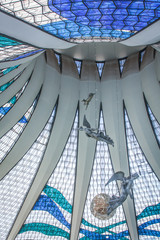 View of the stained glass roof inside the Brasilia cathedral