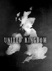 Blackboard or Chalkboard with U.K.Map