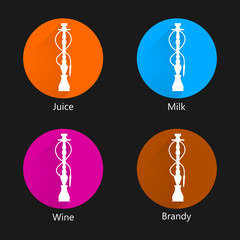 Colored vector icons for hookah