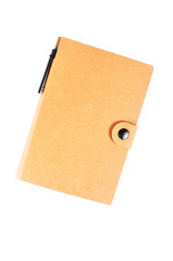 Recycle notebook isolated on white background, brown cover