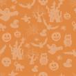 Halloween seamless pattern on an orange background
