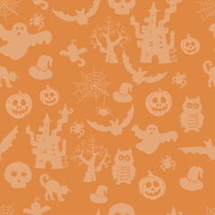 Halloween seamless pattern on an orange background