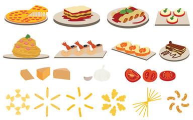 Set of Italian Cuisine Menu vectors