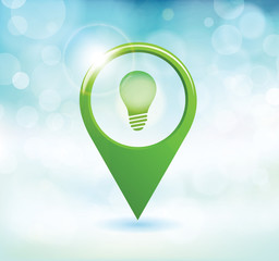 Abstract map marker with bulb icon
