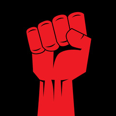 Fist red clenched hand vector illustration.