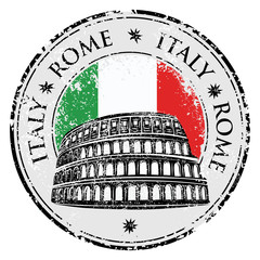 Grunge rubber stamp with Colosseum in Rome vector