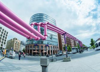BERLIN - MAY 23: pink pipes at Potsdamer Platz on May 23, 2012 i