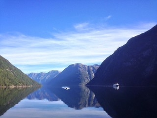Natural mirror on fjord in norway