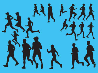 Vector Runners Silhouettes