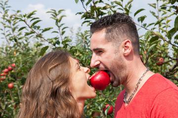 la pomme et le couple amoureu